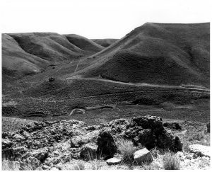 black and white image of a valley with a rock outcropping in the foreground