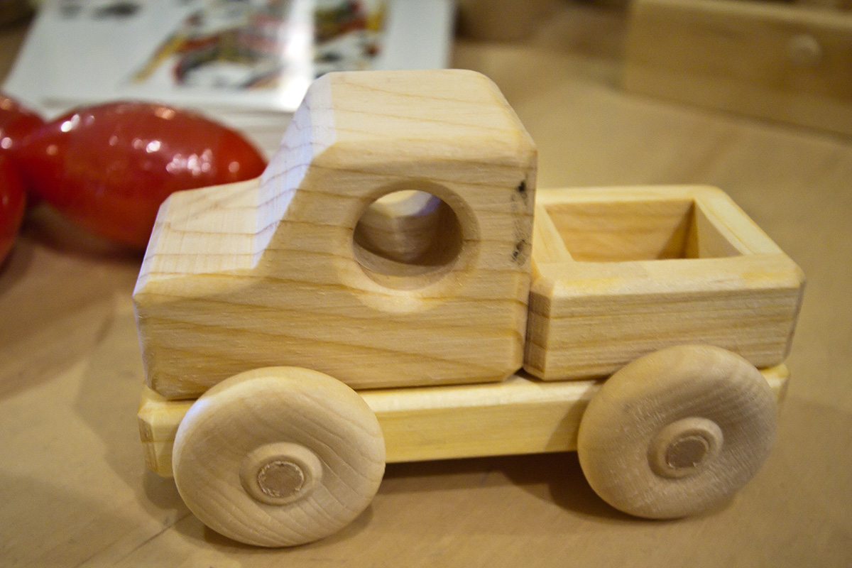 color image of a small wooden truck