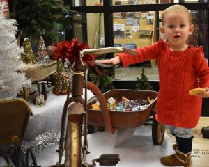 color image of a toddler dressed in red standing next to a historic tricycle in front of a Christmas Tree