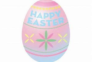 "pastel pink and blue egg with flowers at center and ""Happy Easter"" in blue lettering at the top"