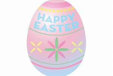 """pastel pink and blue egg with flowers at center and """"Happy Easter"""" in blue lettering at the top"""